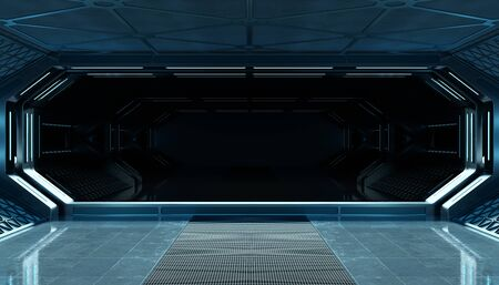 Dark blue spaceship futuristic interior mockup with window view 3d rendering