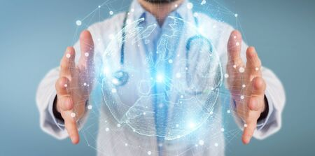 Doctor on blurred background using Europe map globe network hologram 3D rendering