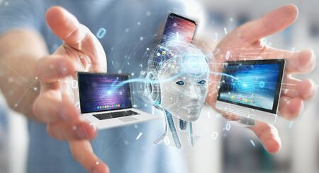 Businessman on blurred background using white humanoid controlling modern devices 3D rendering