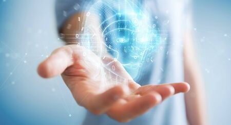 Businessman on blurred background using digital artificial intelligence head interface 3D rendering Фото со стока