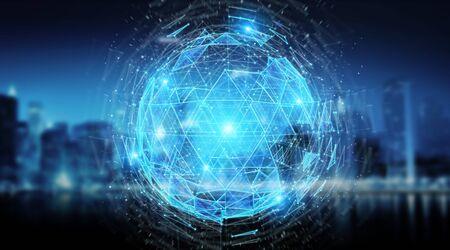 Digital triangle exploding sphere hologram on blue city background 3D rendering Imagens