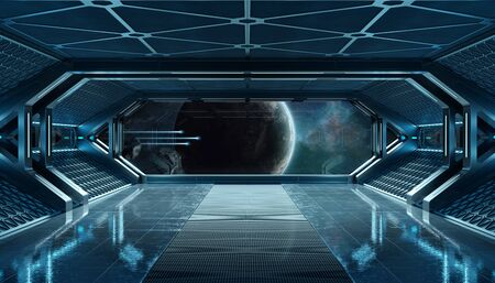 Dark blue spaceship futuristic interior with window view on space and planets 3d rendering Stok Fotoğraf