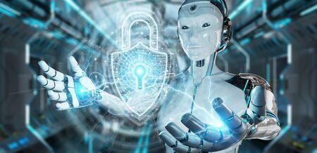 Robot blanco sobre fondo borroso que protege los datos con la representación 3D del holograma del candado de seguridad digital
