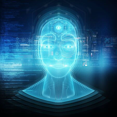 Intelligent machine with a robotic cyborg head concept 3D rendering