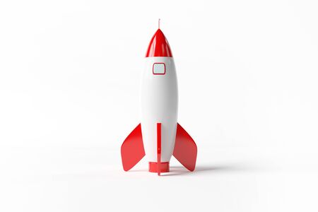 Old school style rocket isolated on white background 3D rendering