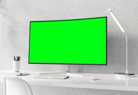 Curved monitor on white desktop and concrete interior with keyboard mockup 3D rendering Stok Fotoğraf
