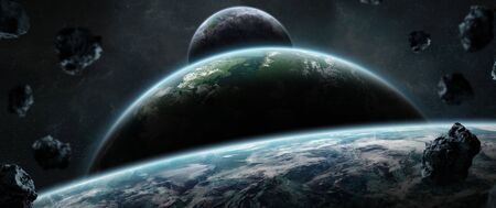 Distant planet system in space with exoplanets during sunrise 3D rendering Stok Fotoğraf