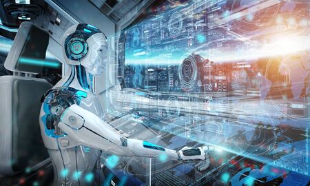 Robot cyborg in a control room flying a white modern spaceship with window view on space and digital graph interface 3D rendering Reklamní fotografie