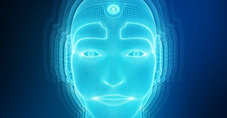 Robotic man cyborg face representing artificial intelligence concept 3D rendering