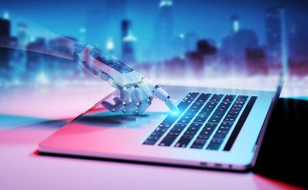 Robotic cyborg hand pressing a keyboard on a laptop 3D rendering Фото со стока