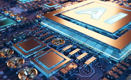 Artificial Intelligence in a complex and modern GPU card 3D rendering