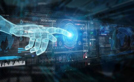 Wireframed blue robot hand touching digital graph interface on dark background 3D rendering Фото со стока