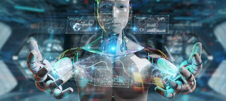 White humanoid robot on blurred background using digital technological interface with datas 3D rendering Stock Photo