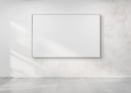White frame hanging on a white wall mockup 3d rendering