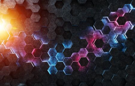 Glowing black blue and pink hexagons background pattern on silver metal surface 3D rendering