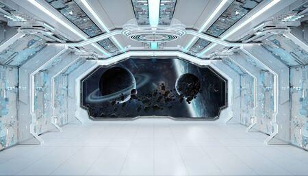 Interno futuristico dell'astronave blu bianca con la vista della finestra sullo spazio e sulla rappresentazione dei pianeti 3d Archivio Fotografico