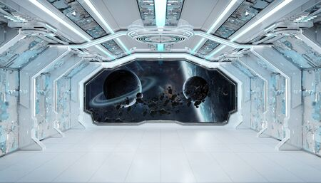 White blue spaceship futuristic interior with window view on space and planets 3d rendering Imagens