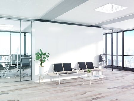 Blank white wall in bright concrete waiting room with large windows Mockup 3D rendering Stock Photo