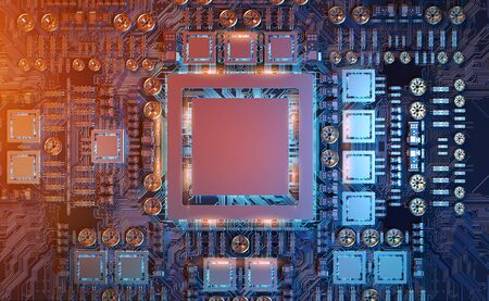 Close-up view of a modern GPU card with circuit and colorful lights and details 3D rendering Banco de Imagens