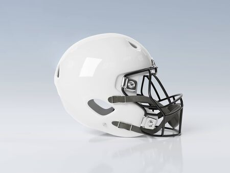 White American football helmet isolated on grey background mockup 3D rendering