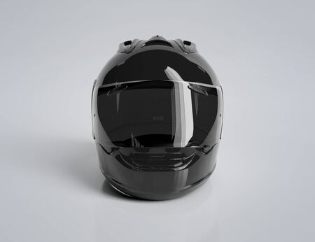 Black motorcycle helmet isolated on white background Mockup 3D rendering