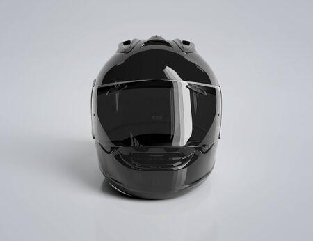 Czarny kask motocyklowy na białym tle makieta renderowania 3d
