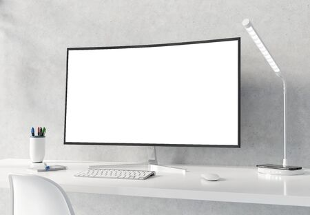 Curved monitor on white desktop and concrete interior with keyboard mockup 3D rendering Reklamní fotografie