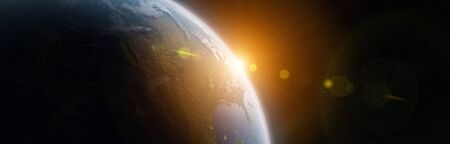 View of blue planet Earth in space with her atmosphere America continent 3D rendering elements