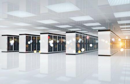 White servers data center room with bright bokeh light going through the corridor 3D rendering