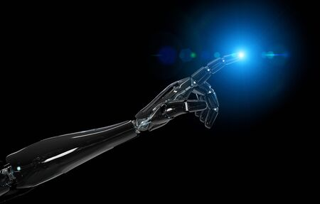 Black and blue intelligent robot cyborg arm pointing finger on dark background 3D rendering Imagens