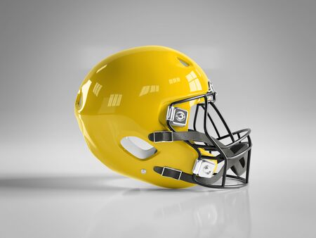 Yellow American football helmet isolated on white background mockup 3D rendering
