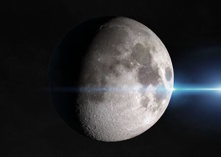 View of an half moon in space with stars in the background 3D rendering 스톡 콘텐츠