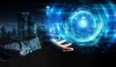 Geschäftsmann auf dunklem Hintergrund, der neue futuristische Energiequelle 3D-Rendering schafft Standard-Bild