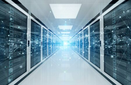 Connection network in white servers data center room storage systems 3D rendering Stockfoto - 128260807