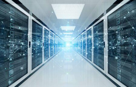 Red de conexión en servidores blancos, sistemas de almacenamiento de salas de centros de datos, renderizado 3D