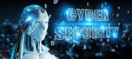 White humanoid on blurred background using cyber security text hologram 3D rendering
