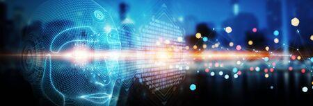 Faccia robotica del cyborg dell'uomo che rappresenta il concetto di intelligenza artificiale 3D rendering