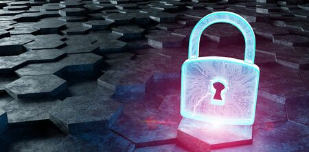 Black blue and pink abstract padlock icon on hexagons background 3D rendering Banco de Imagens