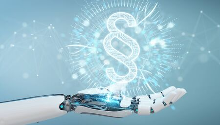 White robot hand on blurred background using law paragraph digital hologram 3D rendering Stock Photo