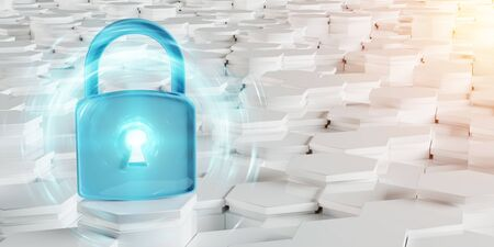 White and blue abstract padlock icon on hexagons background 3D rendering