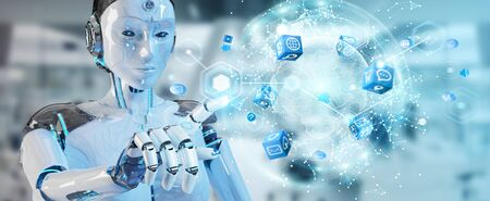 White woman robot on blurred background using digital screen interface 3D rendering Stock Photo - 128700825