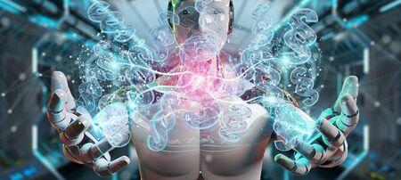 Cyborg judge on blurred background using 3D rendering digital paragraph law symbol