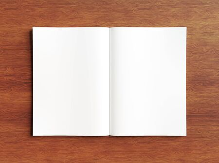White open magazine mockup on wooden texture 3D rendering Stockfoto