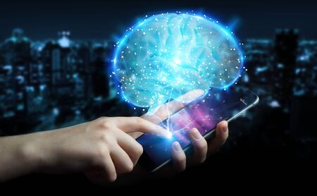 Businessman using digital 3D projection of a human brain with mobile phone 3D rendering