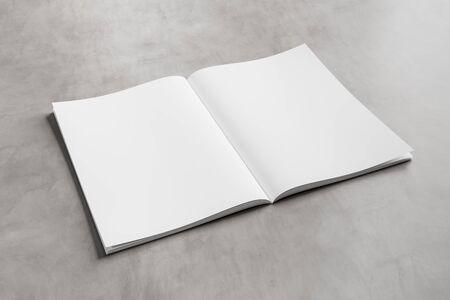 White open magazine mockup on concrete texture 3D rendering
