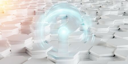 White abstract question icon on hexagons background 3D rendering