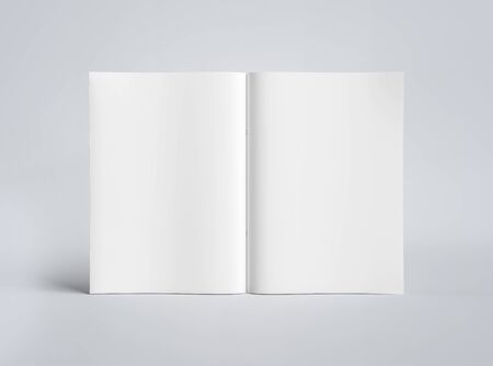 White blank A4 standing magazine Mockup isolated on grey background 3D rendering Фото со стока