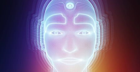 Robotic man cyborg face representing artificial intelligence concept 3D rendering Standard-Bild - 129350257