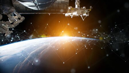 Satellites sending datas exchanges and futuristic connections system over the globe 3D rendering Stockfoto