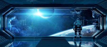 Astronaut in futuristic blue spaceship watching space through a large window 3d rendering